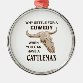 COWBOY OR CATTLEMAN ROUND METAL CHRISTMAS ORNAMENT