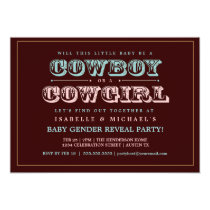 Cowboy or Cowgirl Country Baby Gender Reveal Party Invitation
