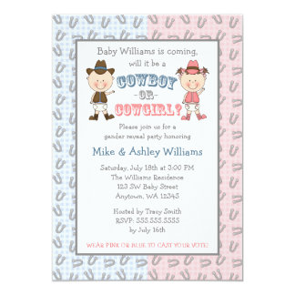 Cowboy or Cowgirl Gender Reveal Party Card