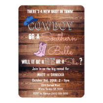Cowboy or Southern Belle Gender Reveal Baby Shower Invitation