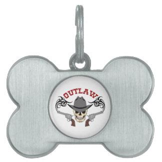 Cowboy Outlaw Pet Name Tag