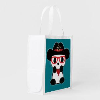 Cowboy Panda Bear Tote Shopping Bag-Leon Reuse Bag