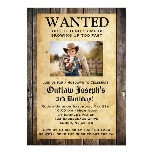 Cowboy Party Invitation  WANTED INVITATION