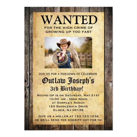 Cowboy Party Invitation | WANTED INVITATION | Zazzle.com