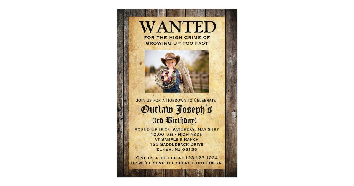 Cowboy Party Invitation | WANTED INVITATION | Zazzle.com
