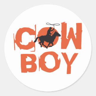 cowboy pegatina redonda