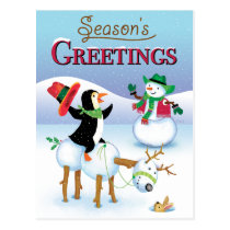 Cowboy Penguin Snowman Seasons Greetings Postcard