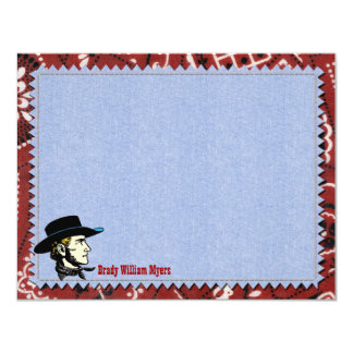 Cowboy Personalized Flat Note Cards
