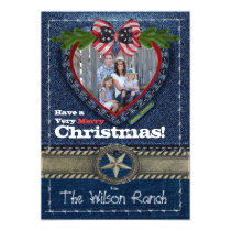 Cowboy Photo Christmas Card on Denim Print