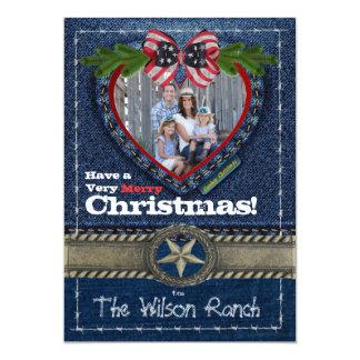 "Cowboy Photo Christmas Card on Denim Print 5"" X 7"" Invitation Card"