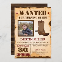 Cowboy Photo Wanted Poster Birthday Party Invitation