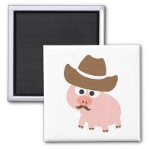 Cowboy Pig Magnet