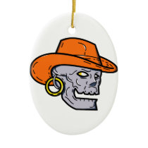 Cowboy Pirate Skull Mono Line Art Ceramic Ornament