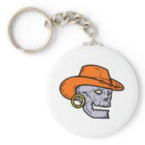 Cowboy Pirate Skull Mono Line Art Keychain