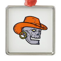 Cowboy Pirate Skull Mono Line Art Metal Ornament