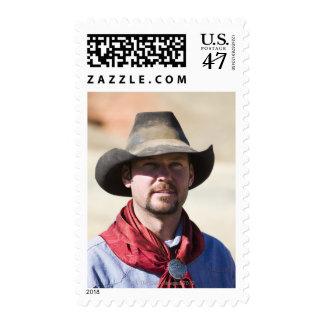 Cowboy portrait postage stamp