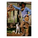 Cowboy posing with lasso and pet dog greeting card