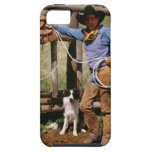 Cowboy posing with lasso and pet dog iPhone 5 covers
