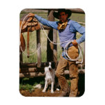 Cowboy posing with lasso and pet dog flexible magnet