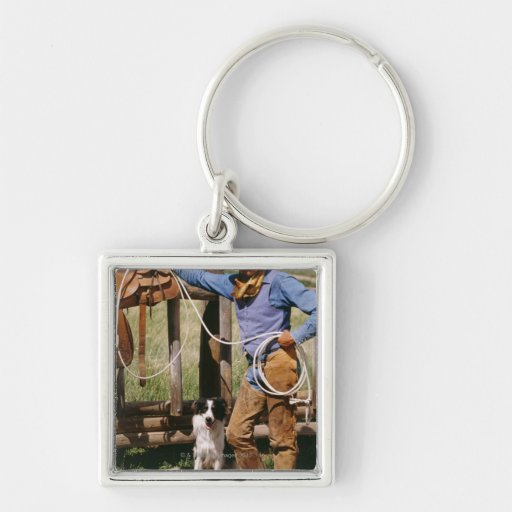 Cowboy posing with lasso and pet dog Silver-Colored square keychain