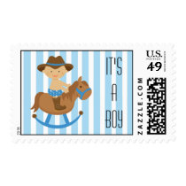 Cowboy Postage Stamp Baby Shower or Announcements