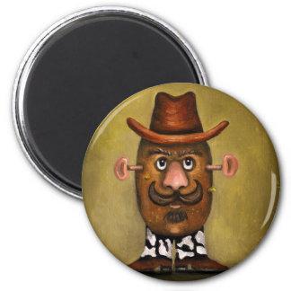 Cowboy Potato 2 Inch Round Magnet