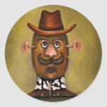 Cowboy Potato Round Stickers