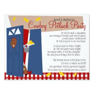 Cowboy Potluck Party 4.25x5.5 Paper Invitation Card