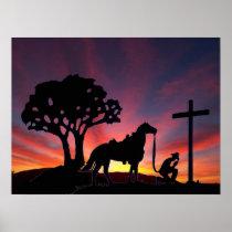 Cowboy Praying at the Cross Christian Western Art Poster