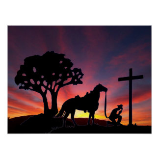 Cowboy Praying at the Cross Christian Western Art Print