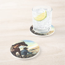 Cowboy Praying The Holy Rosary Custom Coaster