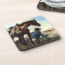Cowboy Praying The Rosary Beverage Coaster