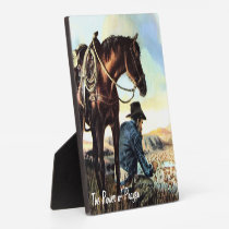 Cowboy Praying The Rosary Plaque
