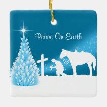 Cowboy Praying Winter Scene Custom Ceramic Ornament