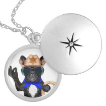 cowboy pug - dog cowboy silver plated necklace
