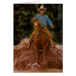 Cowboy raising dust greeting card