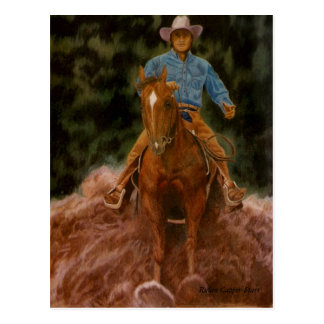 Cowboy raising dust postcard