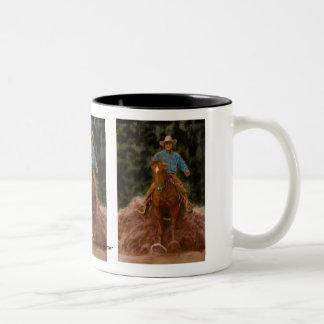 Cowboy raising dust Two-Tone coffee mug