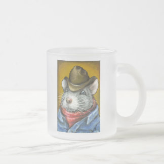 cowboy rat frosted glass coffee mug