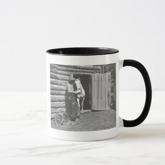 Cowboy reading a letter mug