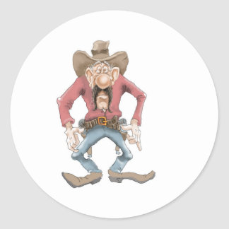 Cowboy ready to Draw Classic Round Sticker