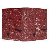 Cowboy Red Bandana Print Notebook Binder