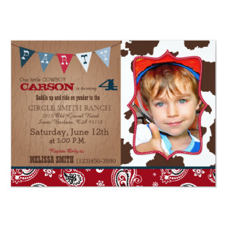 Cowboy Red Bandanna Western Theme Birthday 5x7 Paper Invitation Card