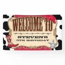 Cowboy, Red Birthday, Welcome Banner