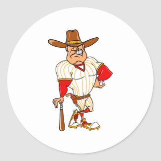Cowboy red orange baseball classic round sticker