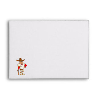 Cowboy red orange baseball envelopes