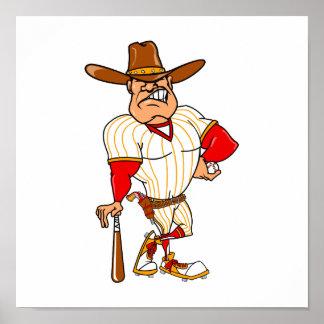 Cowboy red orange baseball poster