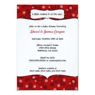 """Cowboy Red Paisley Baby Shower Invite 5"""" X 7"""" Invitation Card"""
