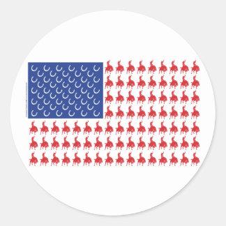Cowboy-Rider-Flag-Tee Classic Round Sticker