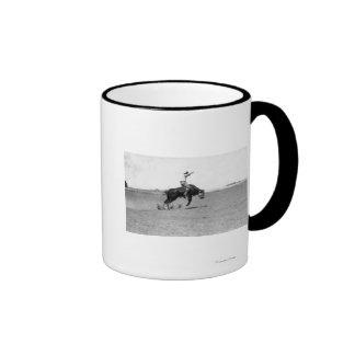 Cowboy Riding a Bucking Bull Ringer Mug